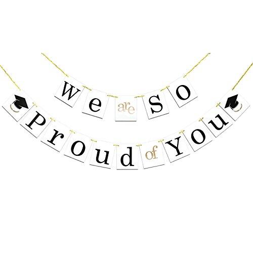Konsait Glückwunsch abschluss deko we Are so Proud of You Girlande Banner mit abschluss Hut Graduierung Wimpelkette, Foto-Requisit für Graduierung 2021 Graduation Party Dekorationen