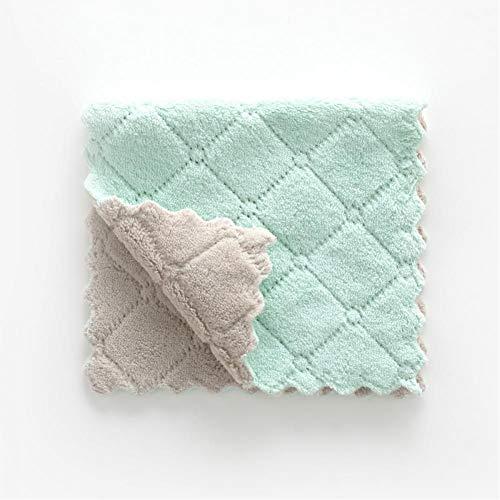 MAZS 10 unids/Lote paño de Cocina paño de Cocina paño de Limpieza Grueso paño Grueso y Suave de Coral Plato de Aceite Antiadherente Absorbente de Doble Color