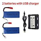 2 Pcs 7.4v 2500mah Lipo Battery for DRC-446 and Syma X8C X8W X8G RC Quadcopter Parts Banana Plug Drone Battery with Charger