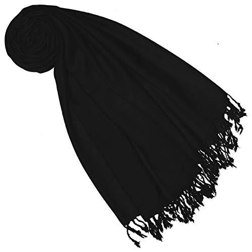 Lorenzo Cana Pashmina Schal Schaltuch 50% Kaschmir 50% Wolle vom Merino-Lamm Wolle Kaschmirschal Wollschal Damenschal Frauenschal schwarz black 7838677