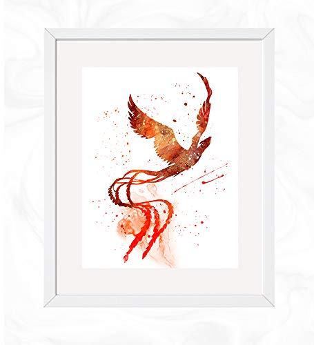 Phoenix Bird Prints, Greek Mythology Beast Watercolor, Nursery Wall Poster, Holiday Gift, Kids and Children Artworks, Digital Illustration Art