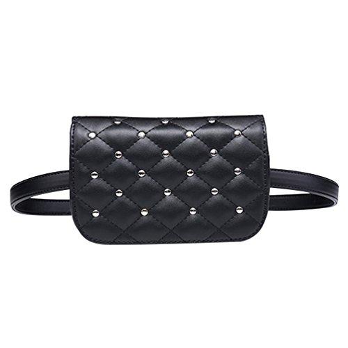 Lau's Riñoneras de moda para mujer - Bolso riñonera de cuero de imitación cintura con tachuelas