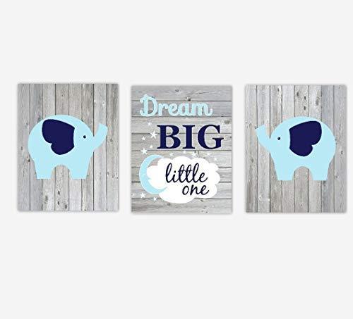 NNNNOOO - Décoration pour Chambre d'enfant - 3 pièces - Motif éléphants Bleu Marine - Rêve Big Little One - Style Rustique - Décoration de Chambre d'enfant - Impression sur Toile