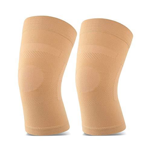 Tabpole Leichte Kniebandage für Damen und Herren, Kompressionsbandage, zur Schmerzlinderung, Gelenkschmerzen, Arthritis, Sportverletzungen, 1 Paar Gr. XX-Large, Nude