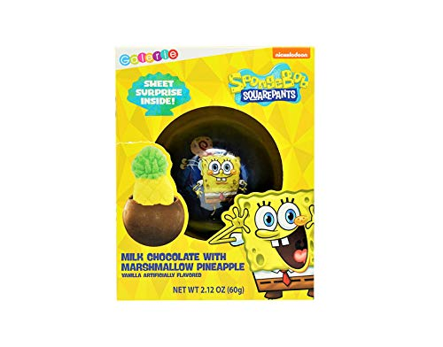 Nickeloden Spongebob Squarepants Chocolate Ball with Surprise Pineapple Shaped Marshmallow Inside, Kids Birthday Party Favors or Christmas Stocking Stuffers Gift, 2.12 Ounce
