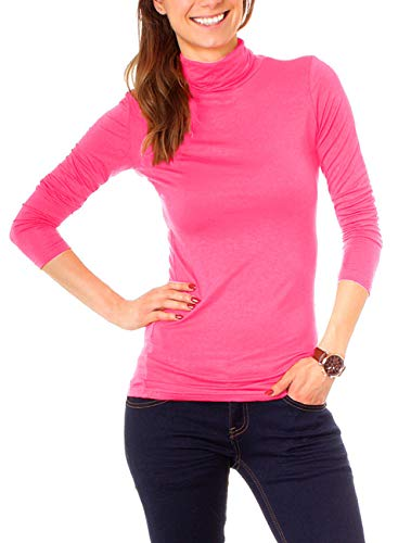 Easy Young Fashion Basic Damen Rollkragen Jersey Shirt Unterzieher Longsleeve Enganliegend Langarm Einfarbig One Size Pink