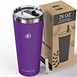 Umite Chef 28oz Tumbler Double Wall Stainless Steel Vacuum Insulated Travel Mug with Lid, Insulated Coffee Mug Cup, 2 Straws, for Home, Outdoor, Office, School, Ice Drink, Hot Beverage(Purple)