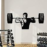JXWH 100x44 cm Gewichtheben Mann Kunst Wandtattoos Fitness Zug Kunst Gym Wandaufkleber Vinyl Sport...
