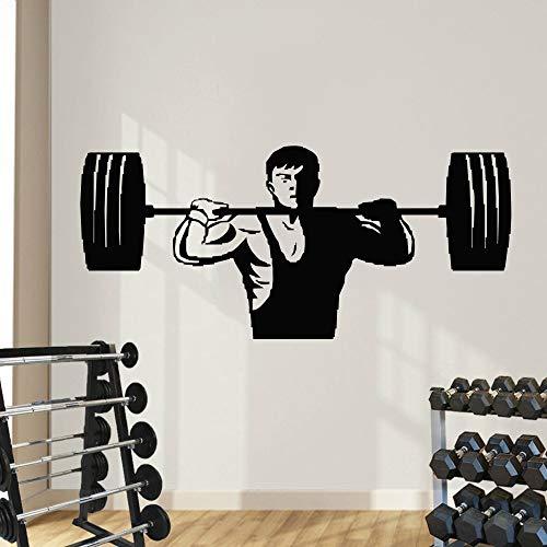 hetingyue Gewichtheffen mannen muurkunst sticker vinyl muursticker kunst trein gym oefening fitness muursticker muurschildering slaapkamer decoratie
