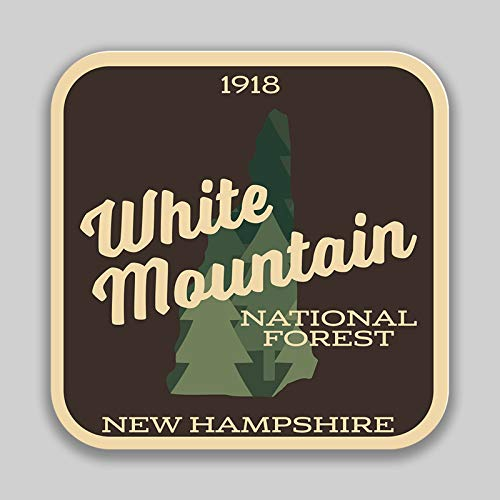 JMM Industries White Mountain National Forest New Hampshire Maine Vinyl Decal Sticker Car Window Bumper 2-Pack 4-Inches 4-Inches Premium Quality UV -Protective Laminate PDS1486