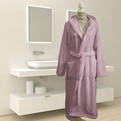 Giovanni Dolcinotti Bath Collection Bademantel für Damen und Herren aus Frottee, 100 % Baumwolle, hergestellt in Italien (M,Puder)