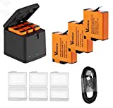 Vemico Hero 7 Black Battery Charger Kit 3X1500mah Replacement Batteries and 3-Channel LED Type C USB Charger for GoPro Hero 7/Hero 6/Hero 5/AHDBT-501(Fully Compatible with Original)
