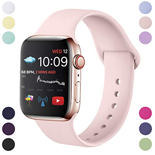 Hamile Cinturino Compatibile con Apple Watch 38mm 40mm, Cinturini Sportiva in Morbido Silicone di Ricambio per Apple Watch Series 5/4/3/2/1, S/M Rosa