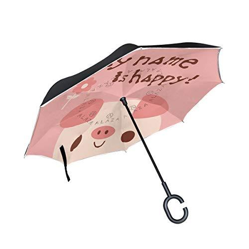 ALINLO Omgekeerde paraplu schattig varken mijn naam is gelukkig, dubbele laag omgekeerde paraplu waterdicht voor auto regen outdoor met C-vormige handvat