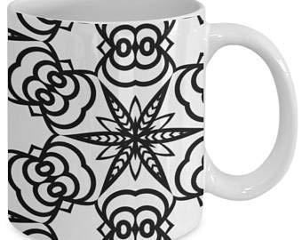 Taza de café con diseño de mandala, para adultos, color me, taza de café, diseño de mandala, color 56