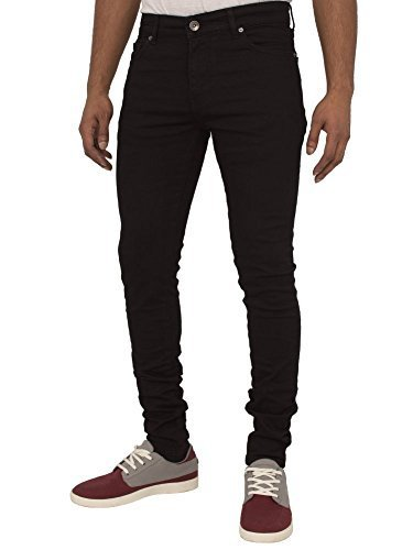 ENZO Mens Super Skinny Slim Fit Stretch Denim Retro Jeans Pants (Black, 34W...