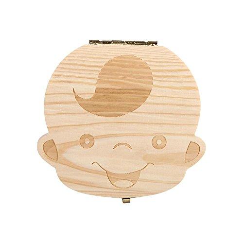 Aufbewahrungsbox für Zähne - Teeth Saves Box, Aufbewahrungsbox für Milchzähne aus Holz für Kinder, Baby, Sparen Sie 3-6 Jahre (4 Arten)(English Boy Image)