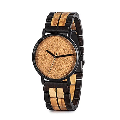 Reloj de Madera, Reloj de Cuarzo de Movimiento japonés Ultraligero Elegante S19, Correa de Metal de Acero Inoxidable y Reloj de Madera, los Mejores Regalos para los Hombres.