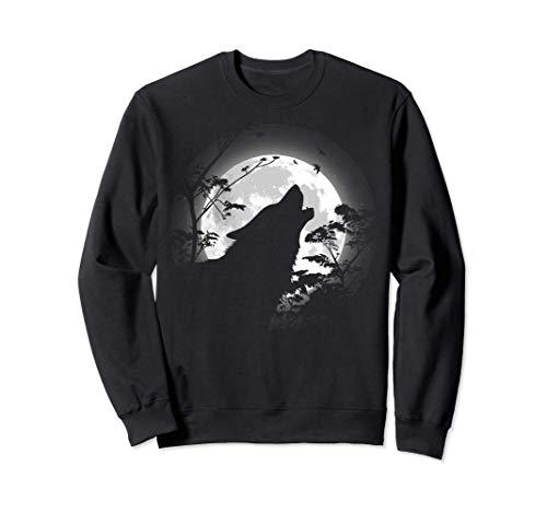 Lobo aullando bajo la luna Sudadera