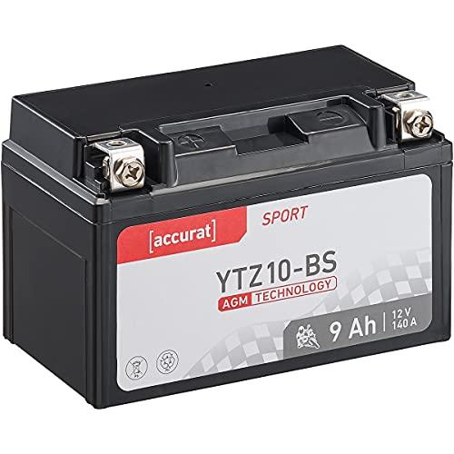 Accurat Motorradbatterie YTZ10-BS 8,6Ah 140A 12V AGM Starterbatterie in Erstausrüsterqualität rüttelfest leistungsstark wartungsfrei