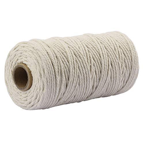 TIREOW Natürliche Baumwolle Makramee Seil Baumwollgarn, Verdrillte Baumwollkordel für Wandbehang, Pflanzen Kleiderbügel, Kunsthandwerk, Stricken, dekorative Projekte (B)