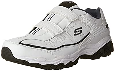 Skechers Men's AFTER BURN M.FIT- FI Strike Memory Foam Velcro Sneaker, White/Navy, 8.5 M US