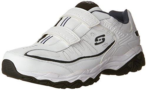Skechers Men's AFTERBURNM.FIT-FI Strike Memory Foam Velcro Sneaker, White/Navy, 10 M US