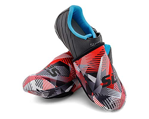 SLS3 Cycling Shoe Cover - Toe Covers - Neoprene Cold Weather Covers - Bike Foot Covers - Wind Resistant - No More Cold Feet (Geo Red, S / M)