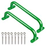Purife 13'' Playground Safety Handle Metal Green, Playset Handles (1 Pair-500LBS ), Swing Set Grab Handles, Ladder Handle, Handle Grip Bar for Jungle Gym, Climbing Frame, Playhouse Treehouse