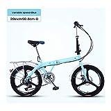 YSHCA20 Pulgadas Plegable Bicicleta, 7 velocidades Marco de Acero al Carbono Bicicleta Plegable Street con Defensa y Sillin Confort Bicicleta Plegable Urbana,Blue-B