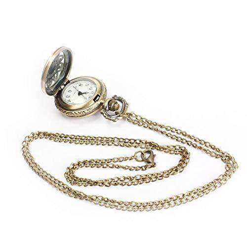 SSJIA Mujeres Hombres Reloj de Bolsillo Vintage Lotus Hollow out Collar de Reloj de Cuarzo Cadena por defecto