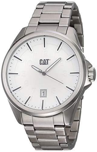 CAT Slate Reloj para Hombre, Caja de 45 mm, Esfera Blanca, visualización de Fecha, Caja y Correa de Acero Inoxidable, Esfera de Color Blanco/Plata (n.º 141.11.211)