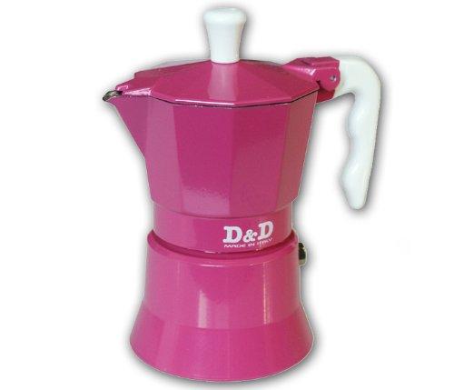 Espresso D & Cafetera 3 Tazas, D, Color Rosa