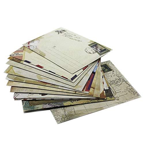 60x Milopon Umschläge Kraftpapier mini Umschlag Briefumschläge Vintage Kuvert passend für Karten nassklebende Kuverts für Einladungskarten, Grußkarten, Weihnachtskarten Zufällige Farbe