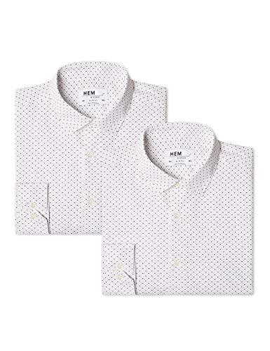 find. Herren Businesshemd 2 Pack Slim Shirt, Weiß (Ditsy Print / Ditsy Print), 54 (Herstellergröße: 16.5)