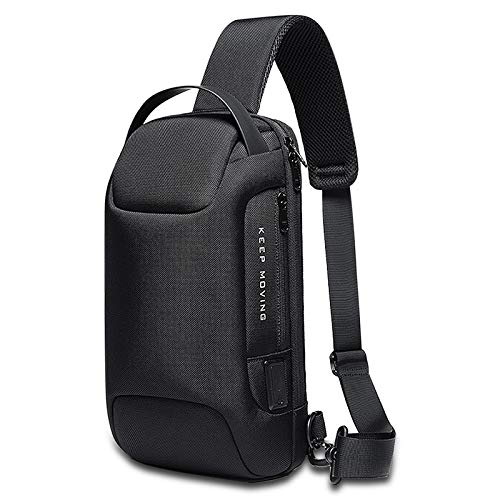 BanGe Brusttasche Umhängetasche, Schultertasche mit USB-Aufladung Sling Rucksack für Outdoorsport