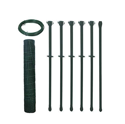 Arvotec Hasendraht/Hühnerdraht Set 6-Eck Geflecht, grün, H:500mm,10m,13x13x0,88 - inkl. Pfosten & Spanndraht