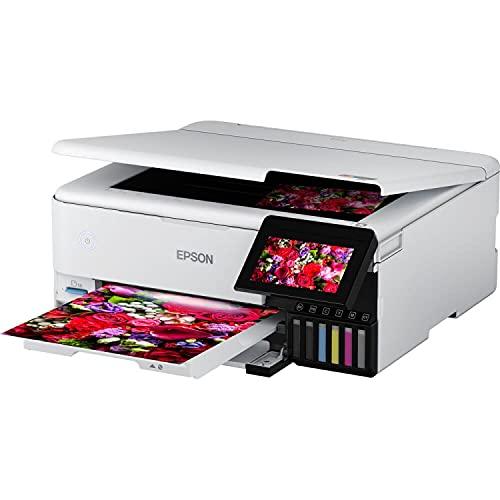Epson EcoTank ET-8500 Stampante Multifunzione per Copia, Scansione, Stampa in Formato A4, 5 Colori, Ultraconveniente, Stampa Fotografica Duplex, Gestione dei Supporti a 5 Vie, WiFi, Ethernet, Display