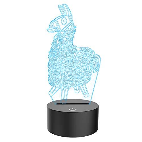 FZAI 3D Illusion Lampe Alpaka LED Nachtlicht Stimmungslicht 7 Farben Berührungsschalter mit USB Kabel Schlafzimmer Schreibtischlampe für Kinder Weihnachts Geburtstags Geschenk