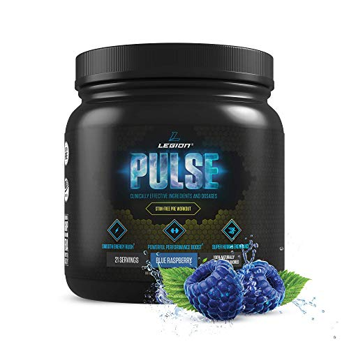 Legion Pulse, Best Caffeine Free Natural Pre Workout Supplement for Women and Men – Powerful Nitric Oxide Booster, Non Stimulant w/Beta Alanine, Citrulline and Alpha GPC, (Caffeine Free Blue Razz)