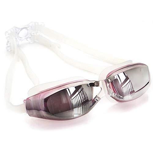 XXYHYQHJD Schutzbrille Schwimmbrille Myopie Männer Und Frauen Anti-Fog Professionelle wasserdichte Silikon Arena Pool Schwimmen Brillen Erwachsene (Color : Rosa, Size : 300)