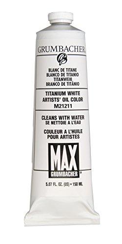 Grumbacher Max Water Miscible Oil Paint, 150ml/5.07 oz, Titanium White