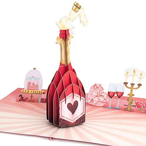 PaperCrush® Pop-Up Karte Champagner [NEU!] - 3D Glückwunschkarte mit Sektflasche für diverse Anlässe (Hochzeit, Runder Geburtstag, Jahrestag) - Besondere Geburtstagskarte für Frau oder Freundin