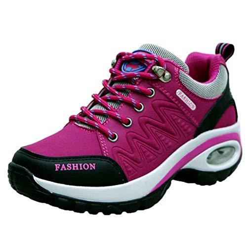 HDUFGJ Sneaker Damen Wanderschuhe Outdoor Trekking Schuhe wasserfestem und atmungsaktivem rutschfest Sportschuhe Walkingschuhe 36(Pink)