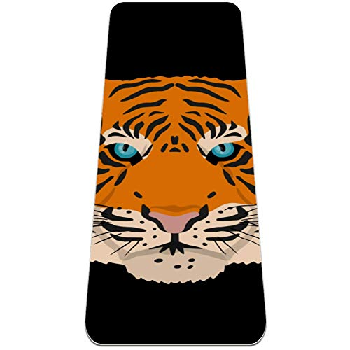 Eslifey Angry Tiger - Esterilla de yoga gruesa antideslizante para mujeres y niñas (182,8 x 60,9 cm, 0,6 cm de grosor)