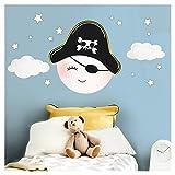 Little Deco Wandsticker Kinderzimmer Junge Mond Pirat &