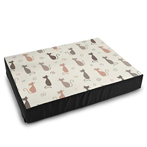 YAGEAD Pet Bedding Stylish Cats Pattern Hundebetten für mittelgroße kleine Hunde Beruhigendes waschbares wasserdichtes Kissenbett