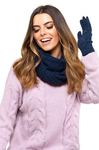 Kamea Winterset für Damen Anna 2-Teilig bestehend aus Loop-Schal und Wintermütze, Beanie, Damenschal als Winter-Schal, hergestellt in EU, Winter Set:Dunkelblau