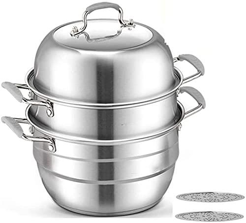 WQF Vaporizador de Alimentos con Tapa de Vidrio Templado Acero Inoxidable 304 Ollas de Vapor de Cocina de 3 Capas Cocina de inducción Piezas de Gas Sartenes antiadherentes / 30 cm