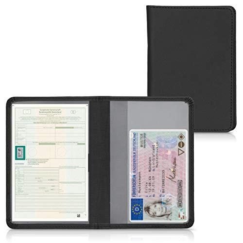 kwmobile Custodia in pelle PU per Libretto Circolazione Auto - Cover Portalibretto con Scomparti per Tessere Patente - Foderina Porta Documenti nero